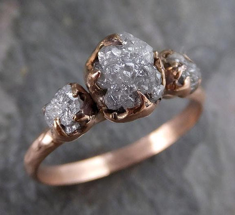 Raw Diamond Rose gold Engagement Ring Rough Gold Wedding Ring diamond Wedding Ring Rough Diamond Ring - Gemstone ring by Angeline