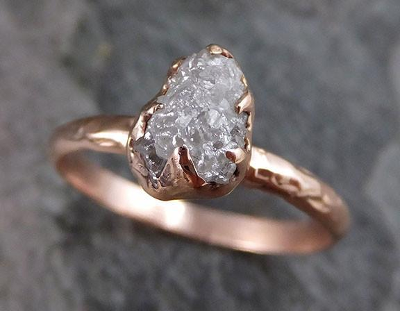 Raw Diamond Solitaire Engagement Ring Rough 14k rose Gold Wedding Ring diamond Wedding Set Stacking Ring Rough Diamond Ring 0209 - Gemstone ring by Angeline
