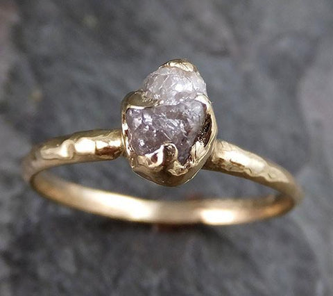 Raw Diamond Solitaire Engagement Ring Rough Uncut gemstone gold Conflict Free Grey Diamond Wedding Promise 0211 - Gemstone ring by Angeline