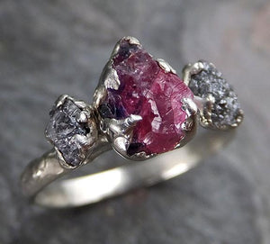Raw Rough Black Diamond Ruby Multi Stone Ring 14k White Gold red Gemstone Engagement birthstone Ring C0218