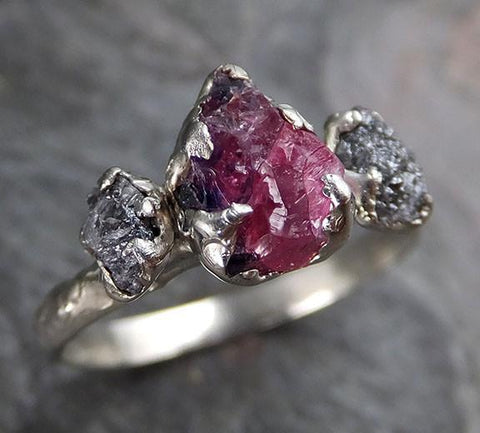 Raw Rough Black Diamond Ruby Multi Stone Ring 14k White Gold red Gemstone Engagement birthstone Ring 0218 - Gemstone ring by Angeline