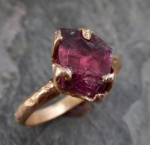 Rough Raw Natural Garnet Gemstone ring Recycled Rose Gold One of a kind Gemstone ring - Gemstone ring by Angeline