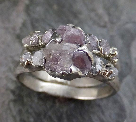 Rough Pink Grey Diamond Engagement Ring Raw 14k White Gold Wedding Ring diamond Multi stone Rough Diamond Ring - Gemstone ring by Angeline