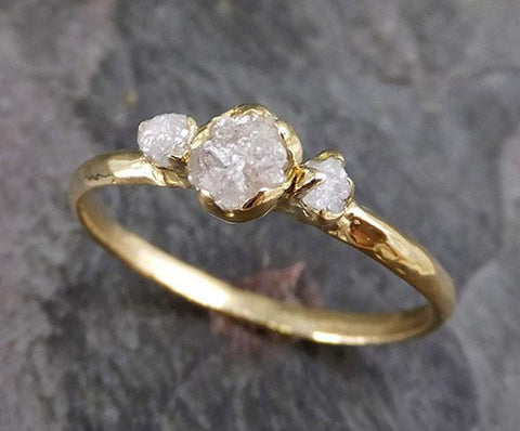 Raw Rough Diamond 18k gold Engagement Multi stone Ring Rough Gold Wedding Ring diamond Wedding Ring Rough Diamond Ring - Gemstone ring by Angeline