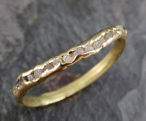 CUSTOM Raw Rough Uncut Diamond Contour Curved Wedding Band 18k Gold Wedding Ring byAngeline