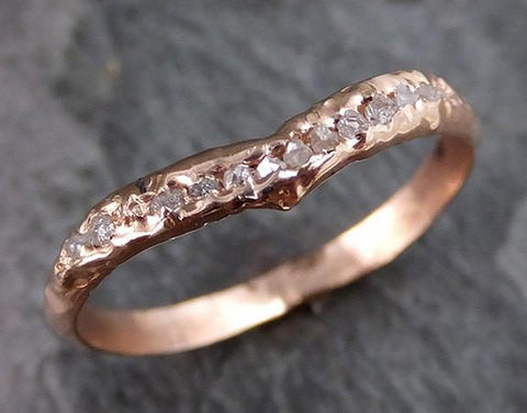 Raw Rough Uncut Diamond Contour Curved Wedding Band 14k Gold Wedding Ring c0197 - Gemstone ring by Angeline