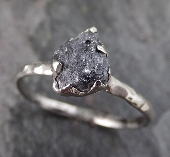 Rough Raw Gray Black Diamond Engagement Ring Raw 14k White Gold Wedding Ring Wedding Solitaire Rough Diamond Ring - Gemstone ring by Angeline