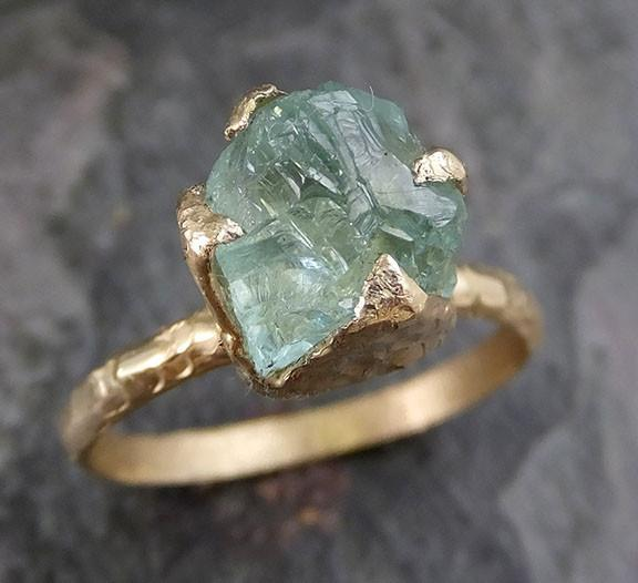 Raw Uncut Aquamarine Ring Solid 14K Gold Ring wedding engagement Rough Gemstone Ring Statement Ring Stacking Ring Cocktail - Gemstone ring by Angeline