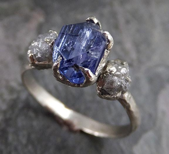 Partially Faceted Raw Diamond Tanzanite Gemstone 14k White Gold Engagement Wedding Ring One Of a Kind Gemstone Ring Bespoke Three stone Ring - Gemstone ring by Angeline