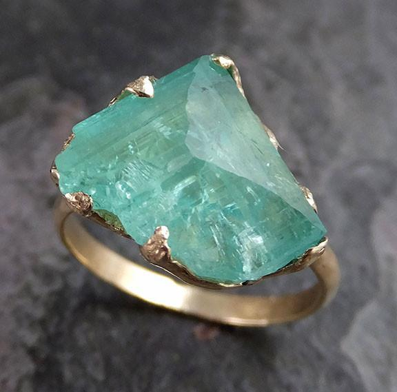 Partially Faceted Raw Sea Green Tourmaline Gold Ring Rough Uncut Gemstone tourmaline recycled 14k stacking cocktail statement - Gemstone ring by Angeline