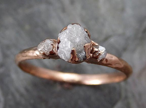 Dainty Diamond Engagement Stacking ring Wedding anniversary Rose Gold 14k Rustic - Gemstone ring by Angeline