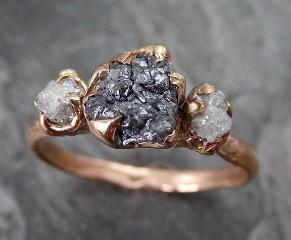Rough Diamond Engagement Ring Raw 14k Rose Gold Wedding Ring Wedding Set Black and white diamonds Rough Diamond Ring - Gemstone ring by Angeline