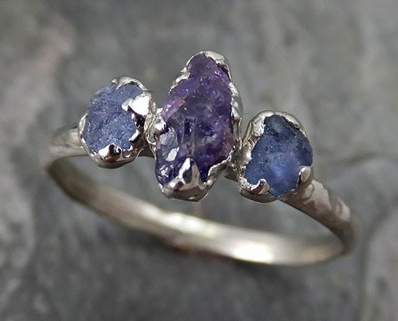 Raw Sapphire White Gold Engagement Ring Multi stone Wedding Ring One Of a Kind Blue Violet Purple Gemstone Lavender Three stone 0239 - Gemstone ring by Angeline