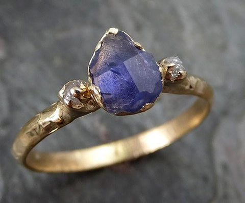 Partially faceted Raw Sapphire Diamond 14k Gold Engagement Ring Wedding Ring Custom One Of a Kind Violet Gemstone Ring Three stone Ring - Gemstone ring by Angeline