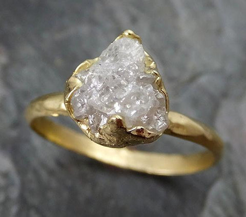 Raw Diamond Solitaire Engagement Ring 18k Rough Uncut gemstone gold Conflict Free Diamond Wedding Promise - Gemstone ring by Angeline