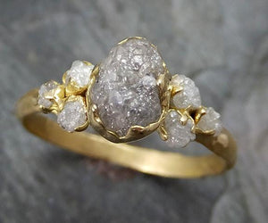18k Raw Diamond Engagement Ring Rough Gold Wedding Ring diamond Wedding Ring Rough Multi stone Diamond Ring