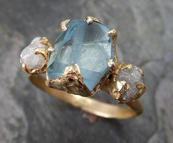 Partially Faceted Raw Aquamarine Diamond Gold Engagement Ring Wedding Ring Custom One Of a Kind Gemstone Ring Bespoke Three stone Ring - Gemstone ring by Angeline