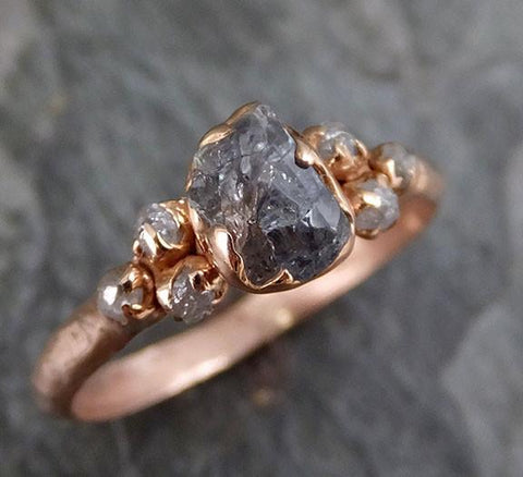 Raw Green Sapphire Diamond Rose Gold Engagement Ring Wedding Ring Custom One Of a Kind Gemstone Ring Three stone Ring - Gemstone ring by Angeline
