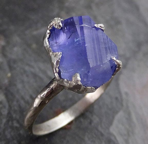 Partially faceted Raw Tanzanite Crystal Solitaire 14k White Gold Ring Rough Uncut Gemstone recycled stacking cocktail statement 0249 - Gemstone ring by Angeline