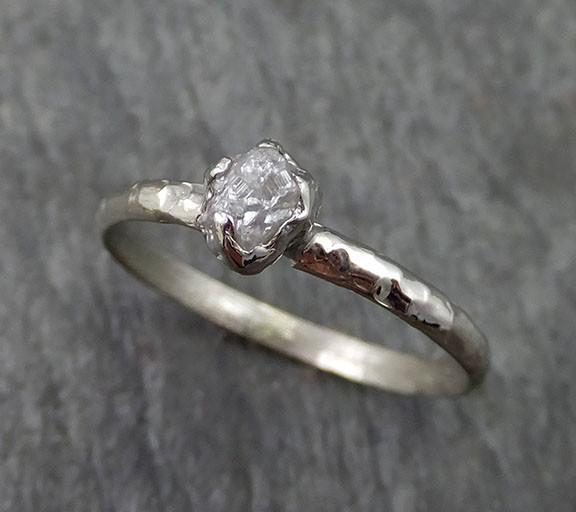 Raw Rough Dainty Diamond Engagement Ring Rough Diamond Solitaire 14k white gold Conflict Free Diamond Wedding Promis - Gemstone ring by Angeline