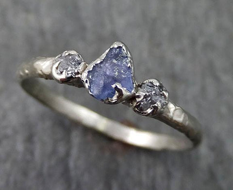Raw Sapphire Dainty Diamond White Gold Engagement Ring Multi stone Wedding Ring Custom One Of a Kind Violet Gemstone Ring Three stone 0252 - Gemstone ring by Angeline