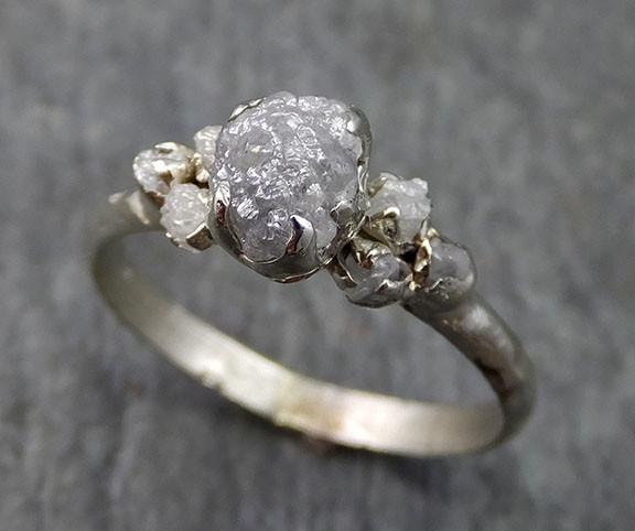 Raw Diamond White gold Engagement Ring Rough Gold Wedding Ring diamond Wedding Ring Rough Diamond Ring - Gemstone ring by Angeline