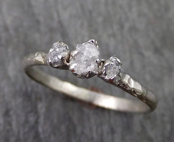 Dainty Raw Rough Diamond Engagement Stacking ring Wedding anniversary White Gold 14k Rustic - Gemstone ring by Angeline