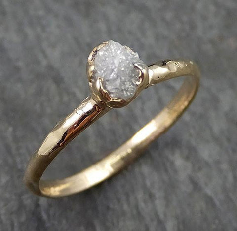Raw Dainty Diamond Engagement Ring Rough Uncut Diamond Solitaire Recycled 14k gold Conflict Free Diamond Wedding Promise - Gemstone ring by Angeline