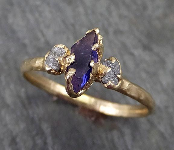 Partially Faceted Sapphire Raw Multi stone Rough Diamond 14k yellow Gold Engagement Ring Wedding Ring Custom One Of a Kind Violet Gemstone Ring Three stone 0258 - Gemstone ring by Angeline