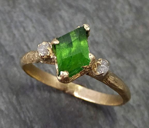 Partially Faceted Rough Raw Diamonds multi stone Natural Tsavorite Garnet Green Gemstone ring Recycled 14k yellow Gold One of a kind Gemstone ring byAngeline 0263 - Gemstone ring by Angeline
