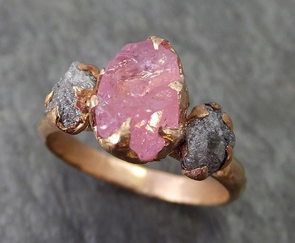 Raw Spinel Diamond Rose Gold Engagement Ring Wedding Ring Custom One Of a Kind Pink Gemstone Ring Three stone Ring byAngeline 0265 - Gemstone ring by Angeline