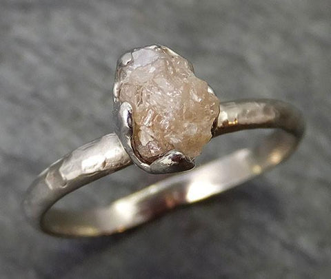Raw Rough Uncut Diamond Engagement Ring Rough Diamond Solitaire 14k white gold Conflict Free Diamond Wedding Promise byAngeline 0268 - Gemstone ring by Angeline