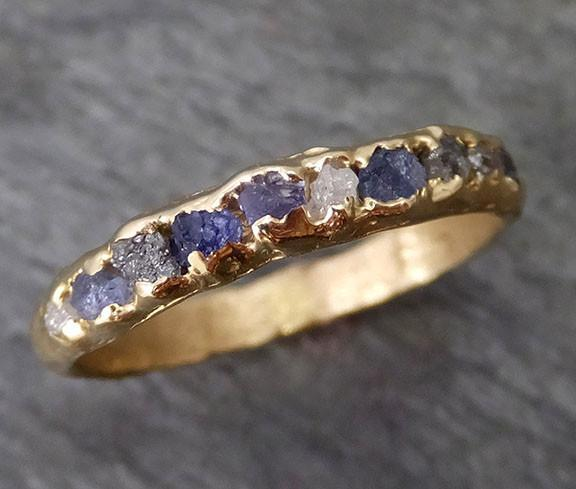 Raw diamond and Sapphires men's or women's Wedding Band Custom One Of a Kind Blue Montana Gemstone Ring Multi stone Ring byAngeline C0269 - Gemstone ring by Angeline