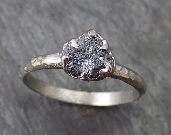 Rough Raw Black Diamond Engagement Ring Raw 14k White Gold Wedding Ring Wedding Solitaire Rough Diamond Ring byAngeline 0270 - Gemstone ring by Angeline