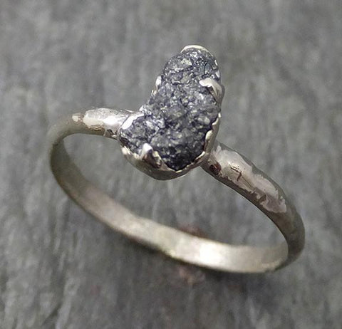 Rough Diamond Engagement Ring Raw 14k White Gold Wedding Ring Wedding Solitaire Rough Diamond Ring byAngeline 0271 - Gemstone ring by Angeline