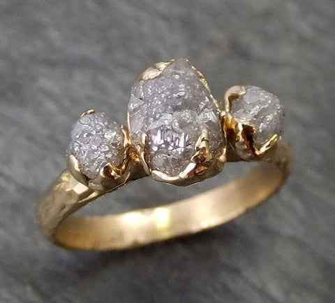 Raw Rough Diamond gold Engagement Multi stone Three Ring Rough Gold Wedding Ring diamond Wedding Ring Rough Diamond Ring byAngeline 0272 - Gemstone ring by Angeline