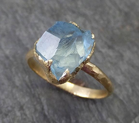 Partially Faceted Raw Uncut Aquamarine Solitaire Ring Wedding Ring Custom One Of a Kind Gemstone Ring Bespoke Three stone Ring byAngeline 0273 - Gemstone ring by Angeline