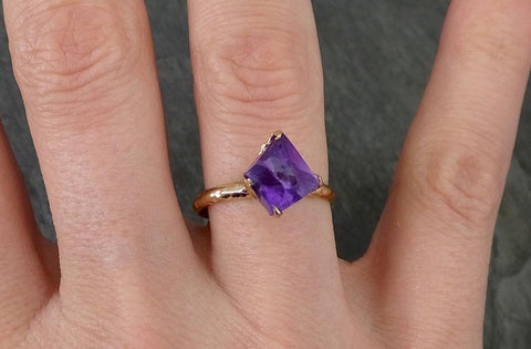Partially faceted Raw Uncut Amethyst Solitaire Ring Wedding Ring Custom One Of a Kind Gemstone Ring Bespoke Three stone Ring byAngeline 0274 - Gemstone ring by Angeline