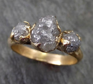 Raw Rough Diamond gold Engagement Multi stone Three Ring Rough Gold Wedding Ring diamond Wedding Ring Rough Diamond Ring byAngeline 0276