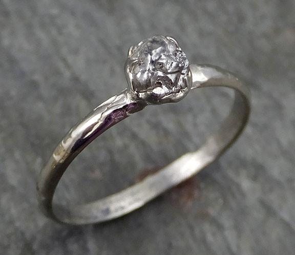 Raw Rough Dainty Diamond Engagement Ring Rough Diamond Solitaire 14k white gold Conflict Free Diamond Wedding Promise byAngeline 0277 - Gemstone ring by Angeline
