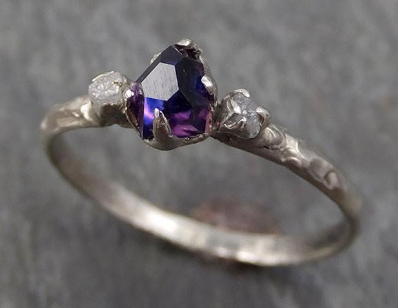 Partially faceted Sapphire Raw Rough Diamond 14k White Gold Engagement Ring Wedding Ring Custom One Of a Kind Violet Gemstone Three stone Ring byAngeline 0278 - Gemstone ring by Angeline