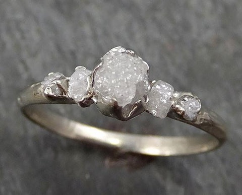 Custom Diamond White gold Engagement Ring Rough Gold Wedding Ring diamond Wedding Ring Rough Diamond Ring byAngeline C0280 - Gemstone ring by Angeline