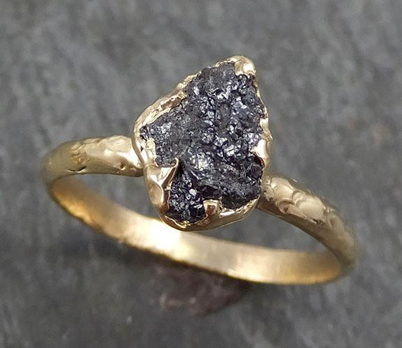 Rough Raw Black Diamond Engagement Ring Raw 14k Gold Wedding Ring Wedding Solitaire Rough Diamond Ring byAngeline 0281 - Gemstone ring by Angeline