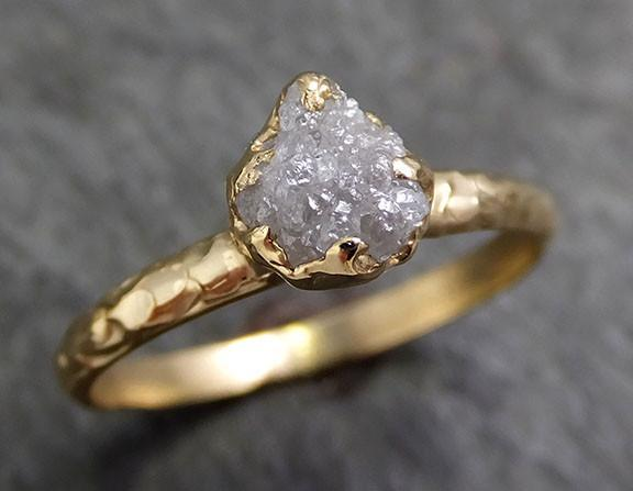 Raw Diamond Engagement Ring Rough Uncut Diamond Solitaire Recycled 14k gold Conflict Free Diamond Wedding Promise byAngeline 0282 - Gemstone ring by Angeline