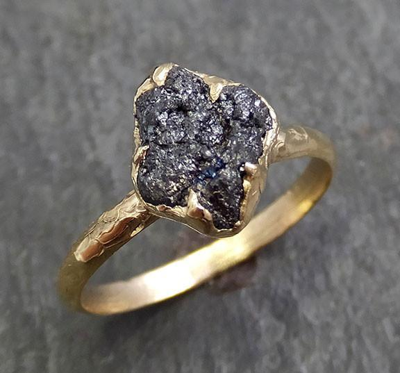 Rough Raw Black Diamond Engagement Ring Raw 14k yellow Gold Wedding Ring Wedding Solitaire Rough Diamond Ring byAngeline 0284 - Gemstone ring by Angeline