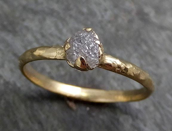Raw Diamond Engagement Ring Rough Uncut Diamond Solitaire Recycled 14k gold Conflict Free Diamond Wedding Promise byAngeline 0287 - Gemstone ring by Angeline