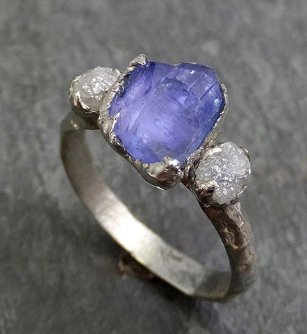 Partially Faceted Raw Diamond Tanzanite Gemstone 14k White Gold Engagement Wedding Ring One Of a Kind Gemstone Ring Bespoke Three stone Ring 0288 - Gemstone ring by Angeline