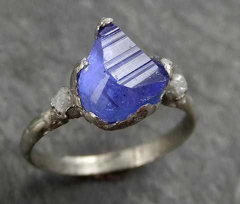 Partially faceted Raw Diamond Tanzanite Gemstone 14k White Gold Engagement Wedding Ring One Of a Kind Gemstone Ring Bespoke Three stone Ring 0289 - Gemstone ring by Angeline