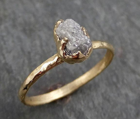 Raw Diamond Engagement Ring Rough Uncut Diamond Solitaire Recycled 14k yellow gold Conflict Free Diamond Wedding Promise byAngeline 0291 - Gemstone ring by Angeline