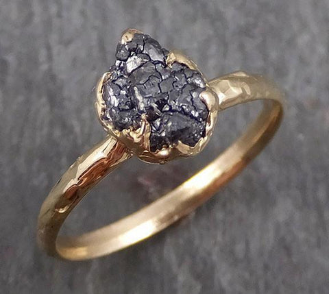 Rough Raw Black Diamond Engagement Ring Raw 14k yellow Gold Wedding Ring Wedding Solitaire Rough Diamond Ring byAngeline 0292 - Gemstone ring by Angeline